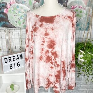 Pink Lily NEW All You Have Rust Tie Dye Blouse